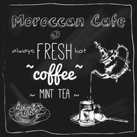 Theepot en kopje Marokkaanse café schoolbord
