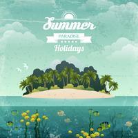 Tropische eiland vintage poster vector
