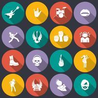 Rockmuziek pictogrammen plat vector
