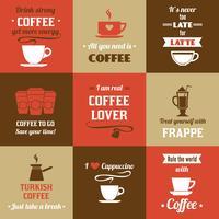 Koffie mini-poster set vector