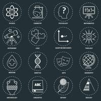 Science gebieden pictogrammen schetsen vector