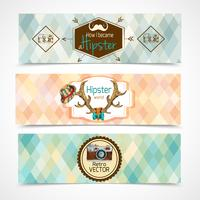 Hipster horizontale banners vector