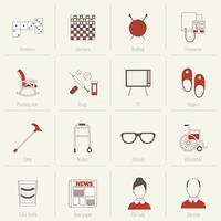 Gepensioneerden Life Icons Flat Line