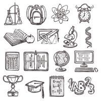 School onderwijs schets iconen vector