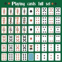 Speelkaarten volledig ingesteld
