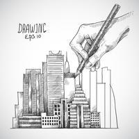 Hand tekening gebouw vector
