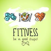 Fitness schets poster vector