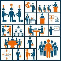 Vergadering pictogrammen instellen plat vector