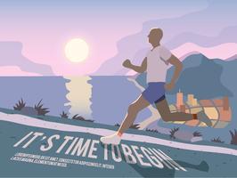 Running man fitness-poster vector