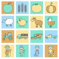 Boerderij pictogrammen instellen platte lijn