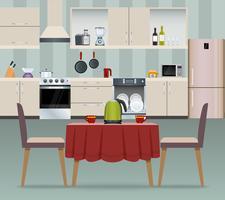 Keuken interieur poster vector