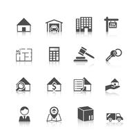 Onroerend goed pictogrammen zwart