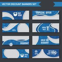 Goedkope banners blauwe set vector