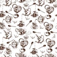 Theepot en cups naadloze patroon vector