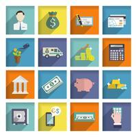 Bankdienst pictogrammen platte set