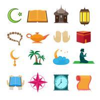 Islam pictogrammen instellen vector