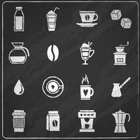 Koffie pictogrammen schoolbord vector