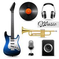 Realistische muziek pictogrammen instellen