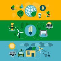 Eco energie horizontale banners instellen vector