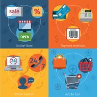 E-commerce pictogrammen plat ingesteld vector