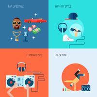 Rap muziekpictogrammen plat ingesteld vector