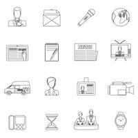 Nieuws pictogrammen instellen omtrek vector