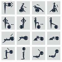 Fitness bal pictogrammen instellen vector