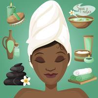 Zwarte vrouw in spa vector