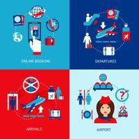 Luchthaven pictogrammen platte set