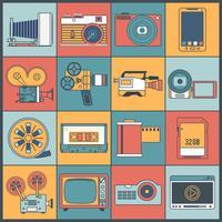 Foto videopictogrammen platte lijn