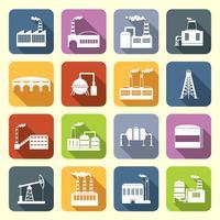 Industrieel gebouw plat pictogrammen