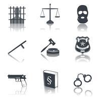 Wet en rechtvaardigheid pictogrammen zwart