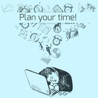Tijd management poster schets vector