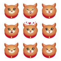 Katten-emoties instellen vector