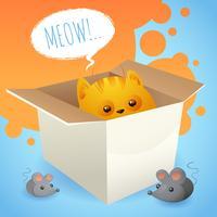 Kitten in doos vector