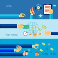 Hand met objecten platte banner vector
