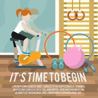 Vrouw bij gymnasium fitness poster vector