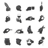 Hand met objecten zwarte set vector