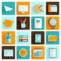 Office-pictogrammen instellen plat vector