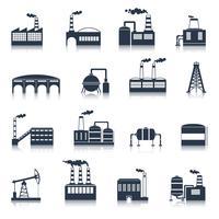 Industrieel gebouw pictogrammen zwart