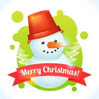 Kerstmissneeuwman kaart vector