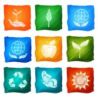 Ecologie pictogrammen aquarel