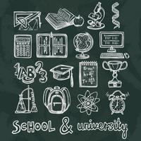 Schoolonderwijs schoolbord pictogrammen vector