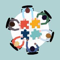 Mensen uit het bedrijfsleven puzzelen vector