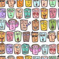 Schets emoticons naadloos patroon vector