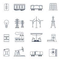 Energie pictogrammen schetsen set