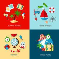 Vakantie pictogrammen platte set