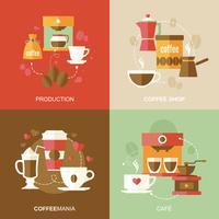 Koffie pictogrammen plat vector
