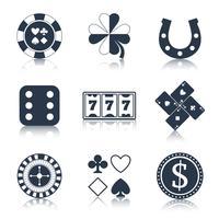 Casino zwarte ontwerpelementen vector