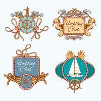 Yachting schets emblemen instellen vector